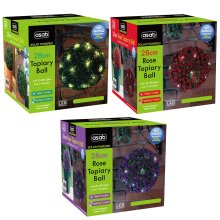Garden Solar-Powered LED Topiary Ball - 28cm   Outdoor Hanging Ornament