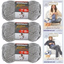 Bernat Softee Chunky Yarn Super Bulky #6 3 Skeins Grey Heather 28046 Bundle