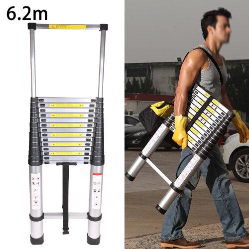 6.2M Portable Heavy Duty Aluminium Telescopic Ladder Extendable