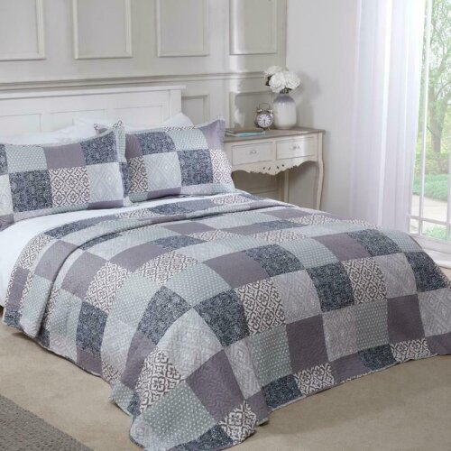 Chiltern Bedspread Plus Pillow Sham Set Quilted Patchwork