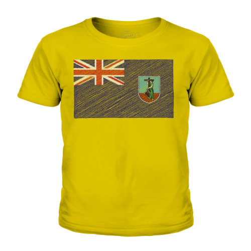 (Gold, 7-8 Years) Candymix - Montserrat Scribble Flag - Unisex Kid's T-Shirt