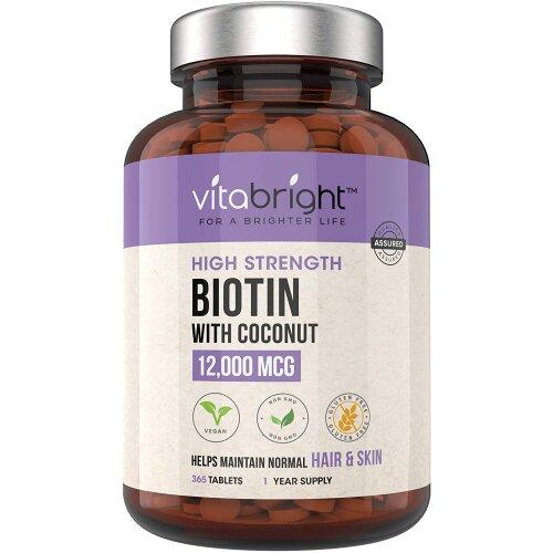 Biotin Hair Growth Supplement 12,000mcg - 365 High Strength Biotin Tablets for Hair - 1 Year Supply - Vegan Friendly Biotin Coconut Oil Supp