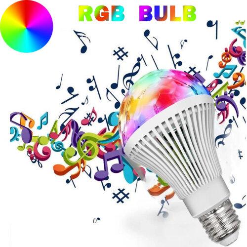 LED RGB Light Bulb Colour Change Disco Party Magic Rotating Flash Lamp