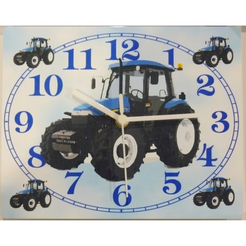 blue tractor wall clock