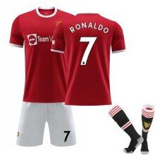Cristiano Ronaldo 7# Cr7 Jersey Home 2021-2022 Season Manchester Soccer T-shirts Jersey Set
