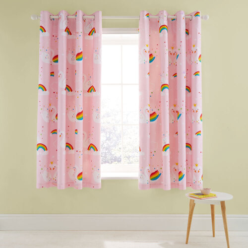 Catherine Lansfield Rainbow Swan Lined Eyelet Curtains, Pink, 66 x 72 Inch