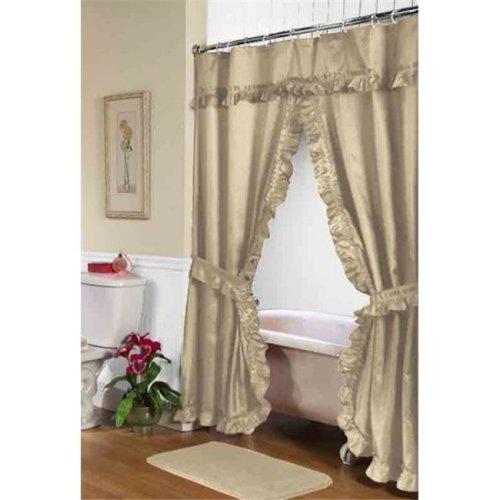 FSCD-L-44 72 x 72 in. Lauren Double Swag Shower Curtain, Linen
