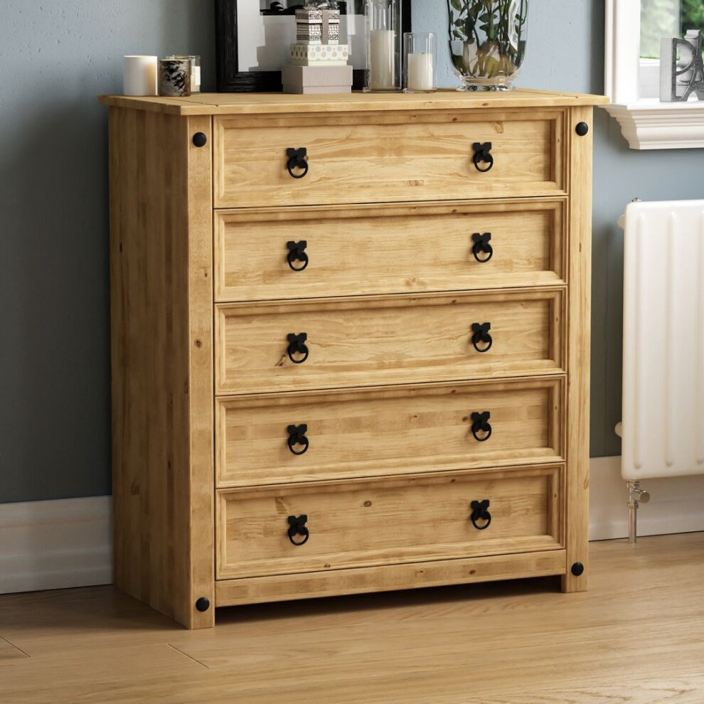 Corona 5 Drawer Chest Of Wooden Drawers Pine Bedroom Furniture On Onbuy
