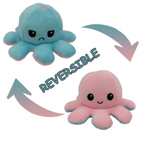 (Pink + Light Blue) Double-Sided Flip Reversible Octopus Plush Toy