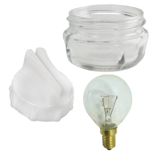 SPARES2GO Screw In Glass Lamp Bulb Lens Cover + Removal Tool + 40w Light Bulb for Neff Oven Cooker