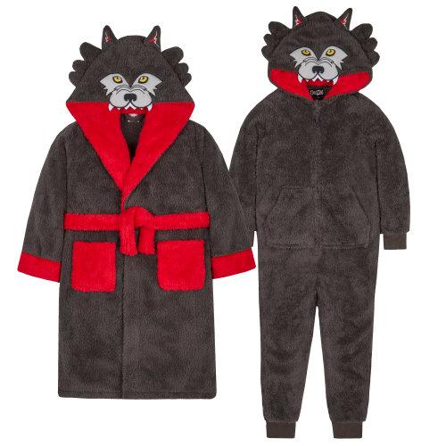 Wolf or Gorilla Boys Novelty Animal Hood Snuggle Fleece Dressing Gown