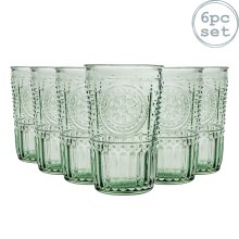 6x Highball Glasses Set Italian Drinking Glass Tumbler Tumblers Green 340ml