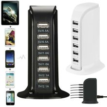 Multi  6 USB Ports Desktop Charger Tower Charging Dock Station Power Adapter