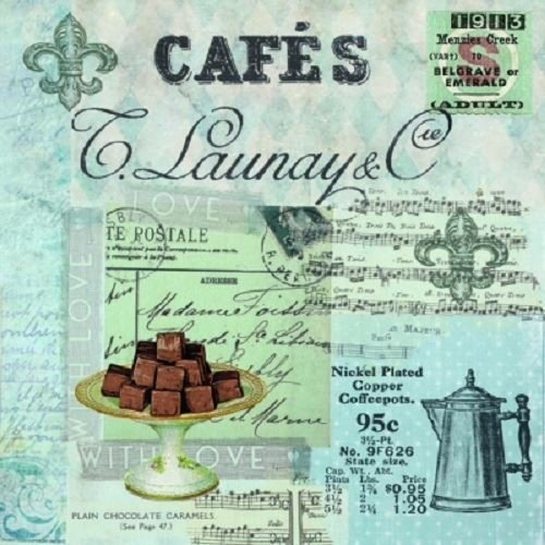 4 x Paper Napkins - Cafe Collage - Ideal for decoupage / Napkin Art