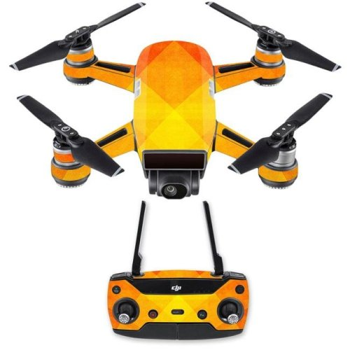 MightySkins DJSPCMB-Orange Texture Skin Decal for DJI Spark Mini Drone Combo - Orange Texture