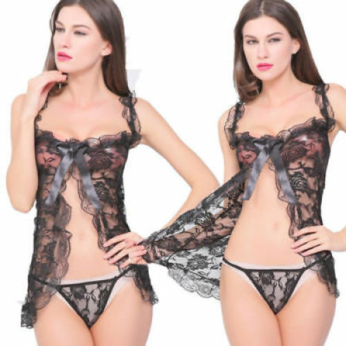 Women Sexy Mesh Elastic Lingerie Black Ruched Good Quality Sleepwear