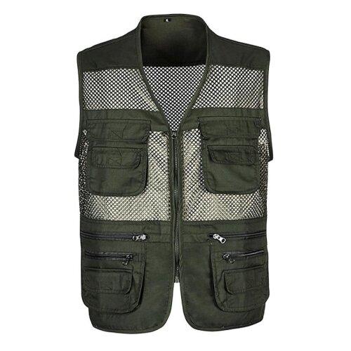 Multi-Pocket Classic Waistcoat Sleeveless Unloading Solid Coat Mesh Vest Jacket