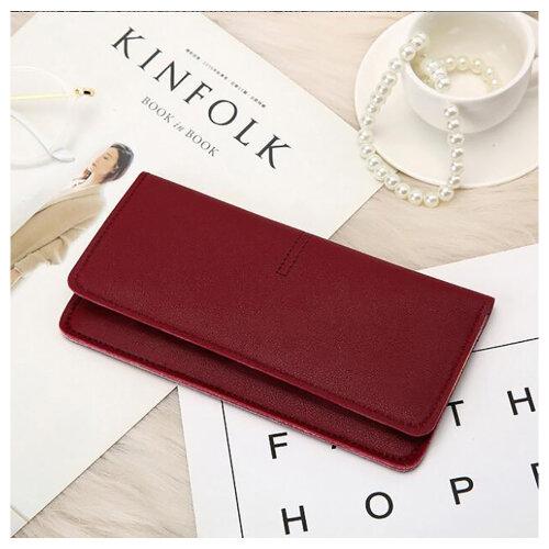 Soft PU Leather Bifold Multi Card Holder Wallet, Elegant Clutch Long Purse for Women Ladies-Redwine