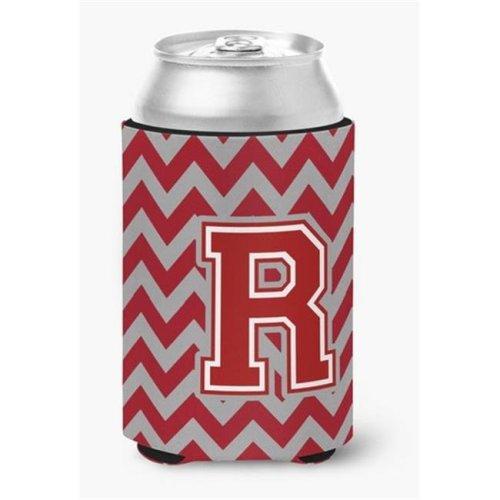 Letter R Chevron Maroon & White Can or Bottle Hugger, 0.25 x 4 x 5.5 in.