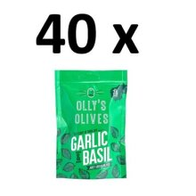40 x Olly's Olives Juicy Green Olives With Garlic & Basil 50g BBE 14/10/20