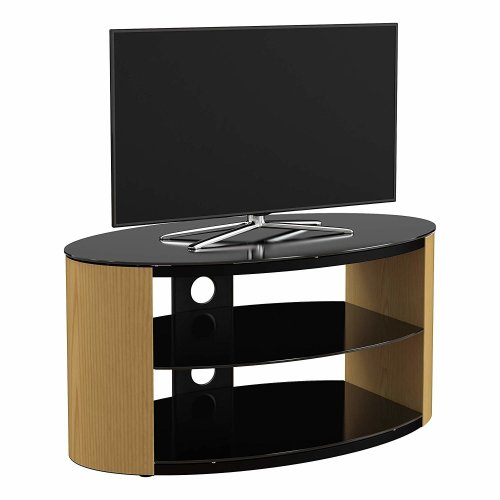 King Oak TV Stand 80cm, Black Glass Shelves, TVs up to 42""