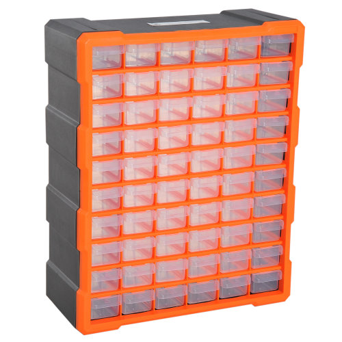 DURHAND 60 Drawers Parts Organiser Wall Mount Storage Cabinet Tools Clear