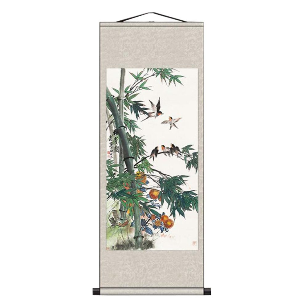 Silk Painted Scrolls Bamboo Wall Hanging Decor