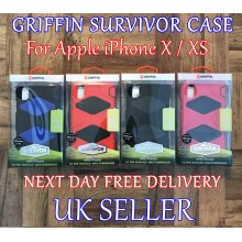 """Griffin Survivor Defender Belt Holster Case Cover With Front Screen Protector For Apple iPhone X / XS (5.8"""") New"""