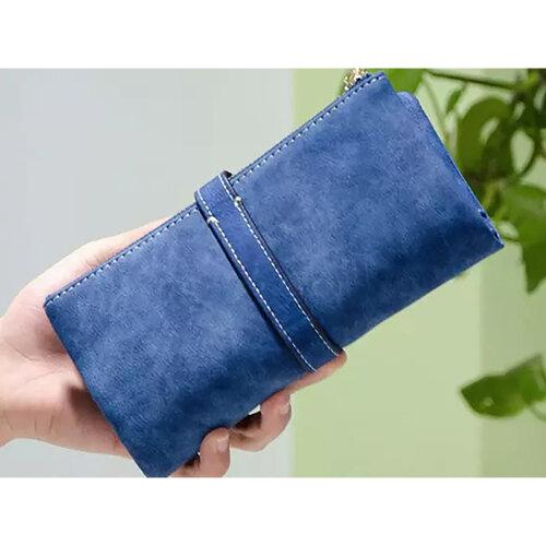 Wallets for Women Faux Suede Coin Purse Ladies Ultrathin Wallets -Blue