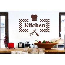 Checkered Kitchen Sign Wall Stickers Art Decals - Medium (Height 41cm x Width 57cm) Brown
