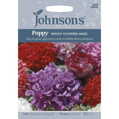 Johnsons Seeds - Pictorial Pack - Flower - Poppy Paeony Flowered Mixed - 2000 Seeds