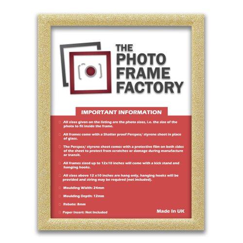 (Gold, A2 - 594x420mm) A1,A2,A3,A4,A5,A6 Glitter Sparkle Photo Frames