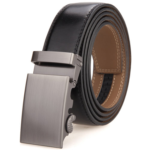 Mens Genuine Leather Dress Belt With Automatic Buckle Single Buckle With an Elegant Gift Box