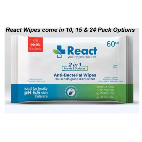 React 10,15&24 Packs Biodegradeable 99.9% Disinfectant Anti-Bacterial 60 Wipes- Direct from MSKA - Delivered to UK/IRE in 72Hrs - EU Delivery 5-8 Days