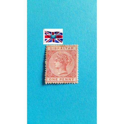 """Gibraltar 1886 """" Queen Victoria definitive s 1886-1887"""" 1 p - Gibraltar penny"""