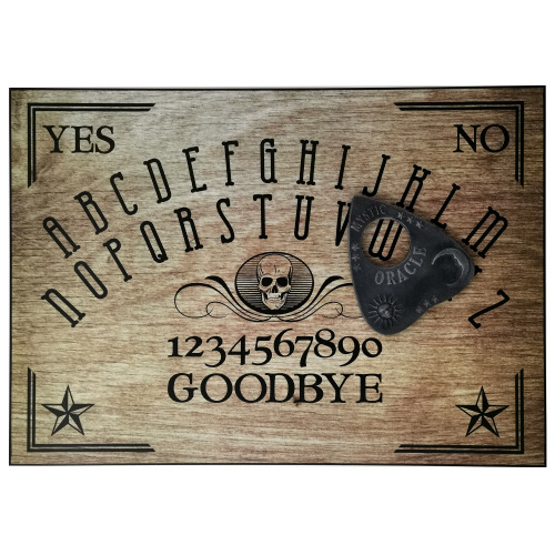 A4 Sized Wooden Skull Ouija Board Set Complete with Mystic Oracle Sun, Moon & Stars Planchette