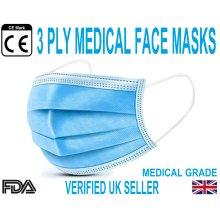 Face Masks 3 Ply Medical Grade Disposable Breathable masks - 50 Pack