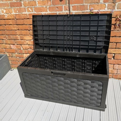 335 Litre Rattan Style Garden Cushion Storage Box with Sit on Lid – Black