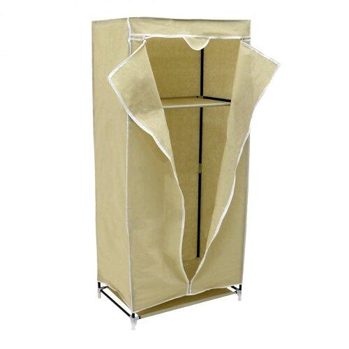 Oypla Single Cream Canvas Wardrobe Clothes Rail Hanging Storage Closet