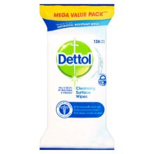 Dettol Anti-Bacterial Cleaning Surface Wipes Mega Pack 126 Wipes
