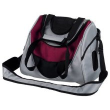 Mitch Front Carrier, 35 × 28 × 22 Cm, Silver/berry - Dog Cat Carrier Padded -  mitch front dog cat carrier padded bottom plate lamb fur look up 5 kg