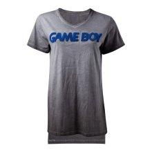 NINTENDO Gameboy 3D Logo Oil Washed T-Shirt, Female, Extra Large, Grey (TS132506NTN-XL)