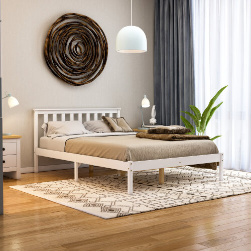 (Double, White) Milan Bed Frame Low Foot End Solid Pine Wood Frame