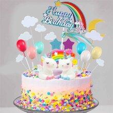 21pcs Unicorn Cake Topper Kit Cloud Rainbow Happy Birthday Banner Deco