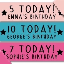 Personalised Kids Birthday Banner - Any Name, Age & Colour!