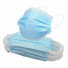 50pcs Face Masks Disposable 3Layers Mask Facial Protective Cover Blue