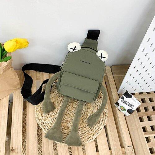 (1) Tide Cartoon Cute Frog & Casual Messenger Chest Bag and Unisex Shoulder Crossbody Bag