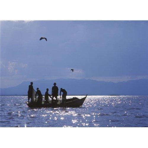 Fishermen Pulling Fishing Nets On Small Boat On Lake Chilwa Poster Print, 18 x 13