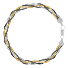 """Tricolor Braided Snake Chain Anklet In Sterling Silver, 10"""""""