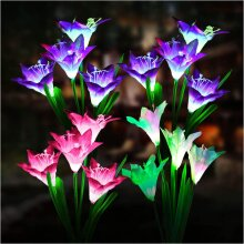 Solar Garden Lights with 4 Bigger Lily Flowers and Wider Solar Panel,